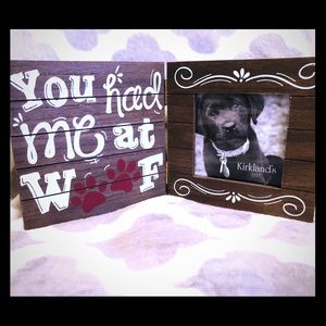 "New wooden dog picture frame ""you had me at woof"""